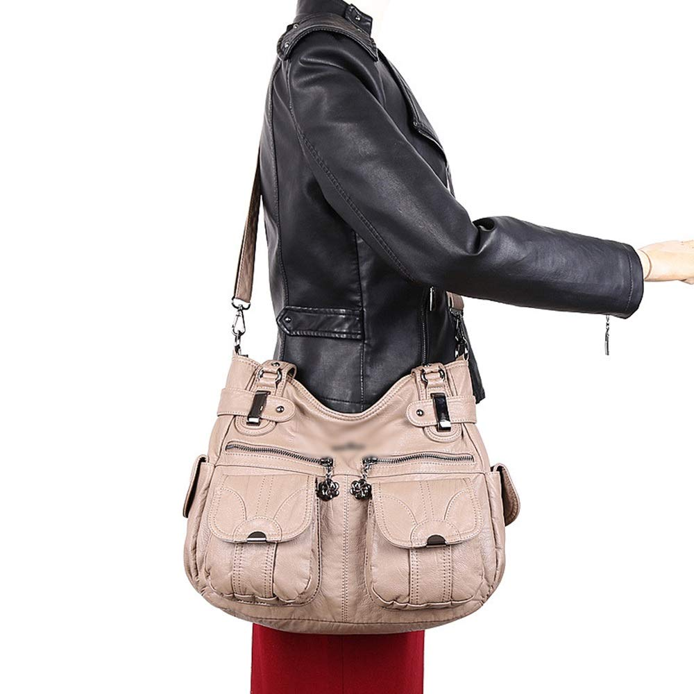 Ysswjzz kvinnor multi pocket ledig axelväska resväska messenger handväska för shopping vandring daglig användning M