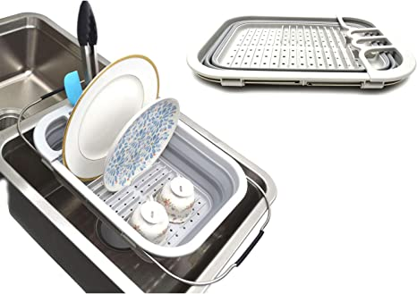 SAMMART Escurridor de platos extensible y plegable - Estante de secado plegable - Organizador de vajilla portátil - Bandeja de almacenamiento de ...