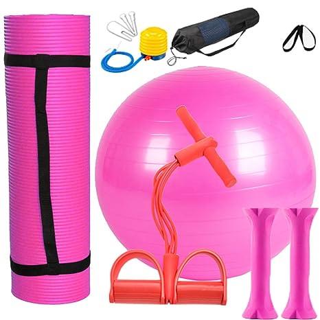 Yoga Juego Rosa 1 Yoga estera de NBR, 1 pelota de yoga de PVC,