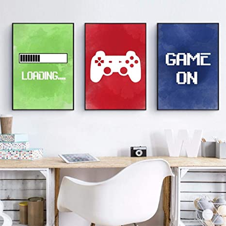 Amazon Com Weukuart Video Game Wall Art Canvas Posters Prints Gaming Room Decor Video Game Party Art Painting Pictures Boys Room Wall Decoration 40x60cm3 Unframed Posters Prints