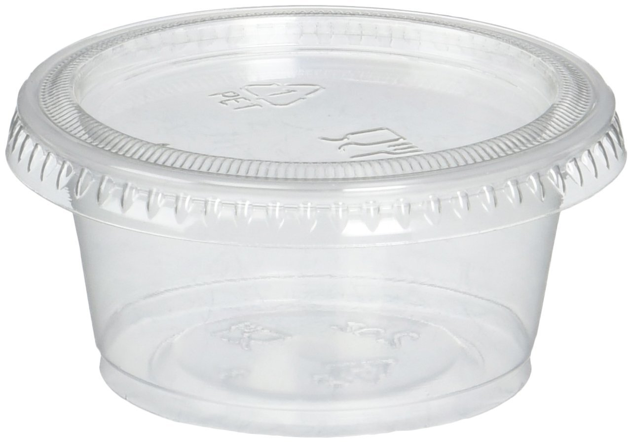 Plastic Portion Cups with Lids 2 oz. 150 Pack Condiment Sauce Snack Souffle Dressing, Jello Shot Cup Containers, BPA free - by DuraHome