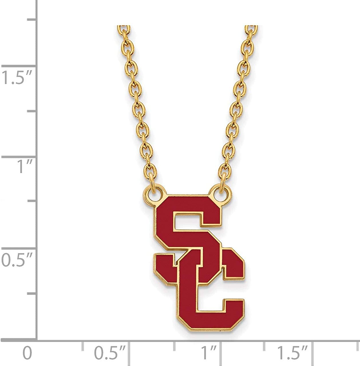 Lex /& Lu LogoArt Sterling Silver w//GP University of Southern California XL Pendant LAL140636