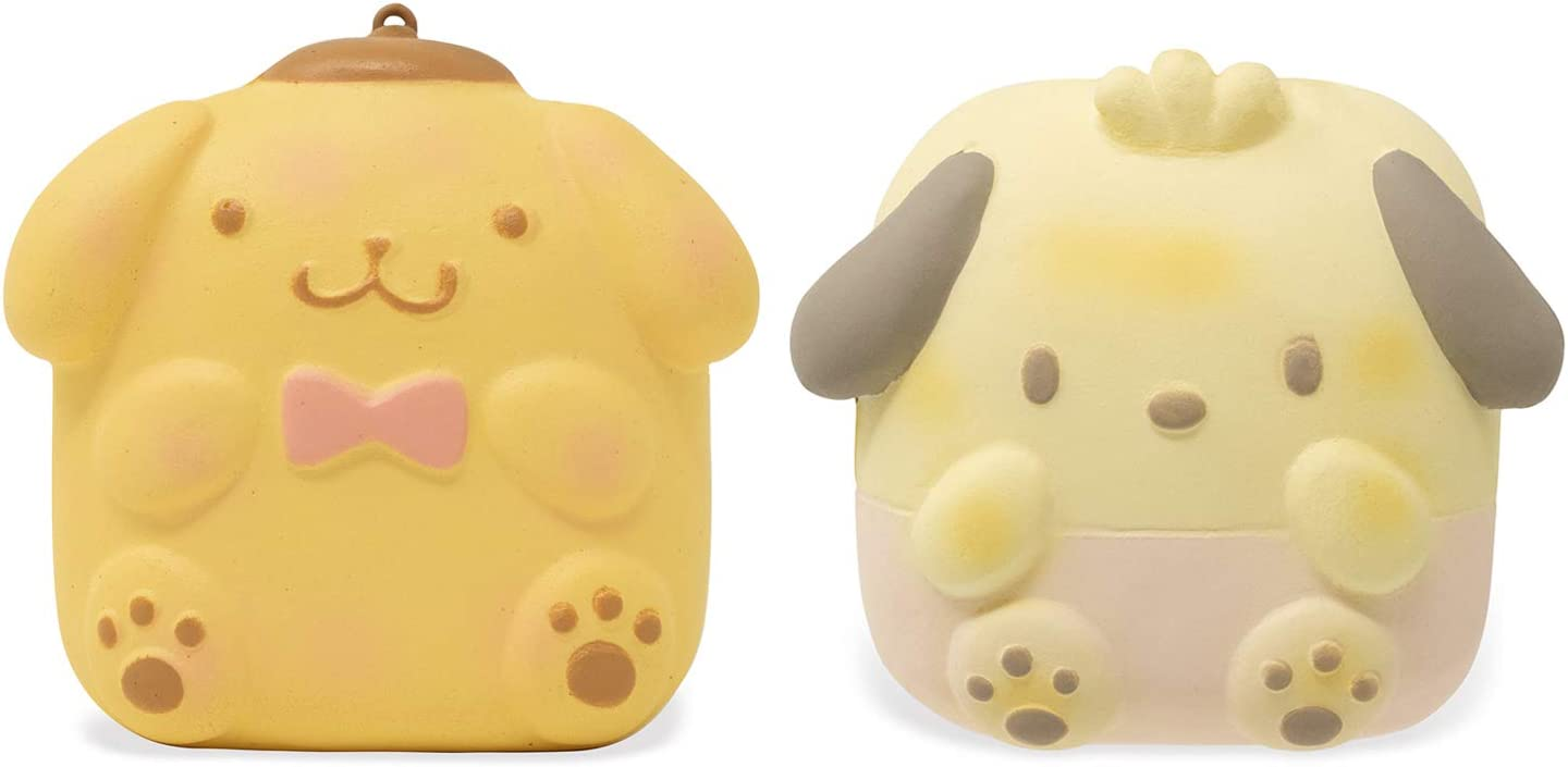 Sanrio Hello Kitty & Friends Sweet Roll Slow Rising Squishy Toy Keychain (2 Piece Set, Pompompurin & Pochacco) for Birthday Gifts, Party Favors, Stress Balls, Kawaii Squishies for Kids, Girls, Boys