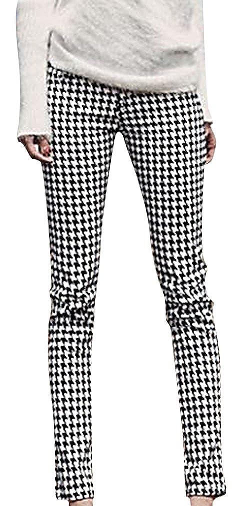 ee529f2f1f5a2 MTRNTY Women's Maternity High Elastic Waist Elegant Plaid Black White Slim  Pants at Amazon Women's Clothing store: