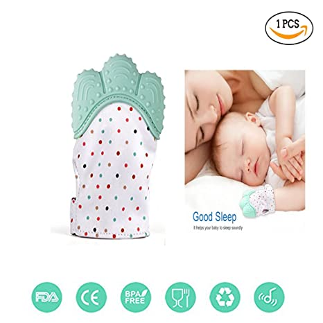 Teething Mitten Green Sinhanker Self Soothing Silicone Teether Glove for 3M-18M Babies,Sensory Crinkle Chew Toy Mitt with Velcro Straps for Infants and Toddlers