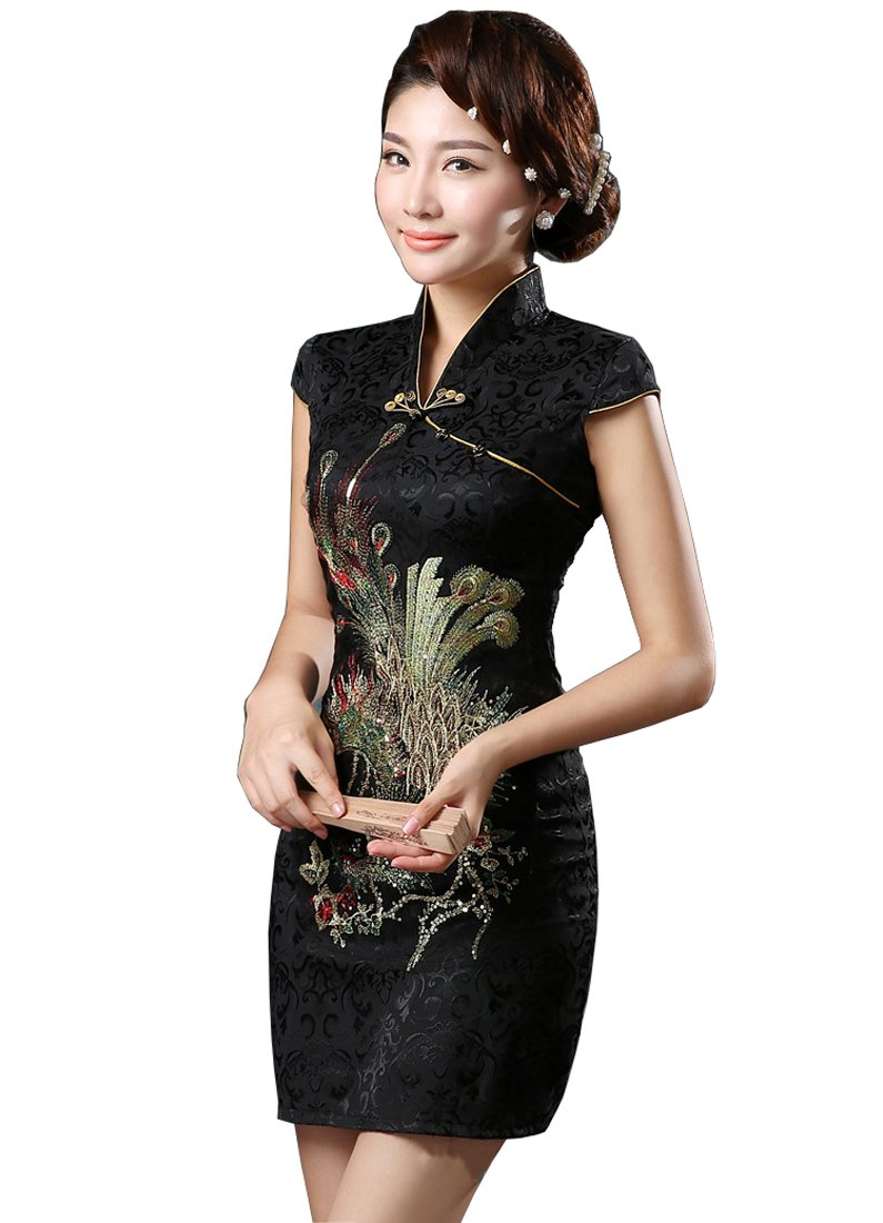 YueLian Women's Chinese Style Wedding Dress Short Phoenix Qipao Cheongsam Party Dress (12, Black)