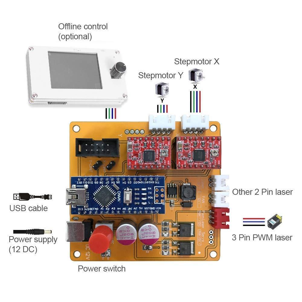 impresora l/áser de potencia ajustable,talla y corte madera superficie de grabado 500X400mm TOPQSC DIY Kits de grabador l/áser CNC 12V USB M/áquina de grabado l/áser de escritorio