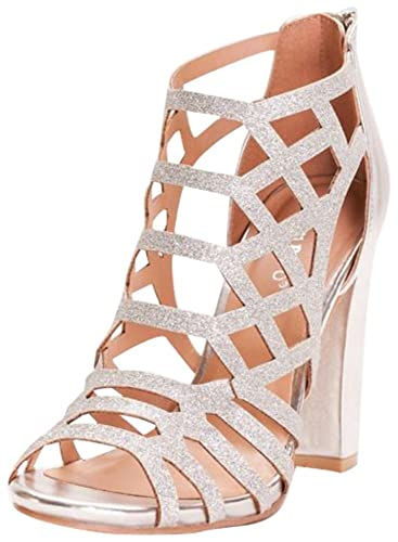 0fde355707e Glitter Cage Block Heels Style Limelights