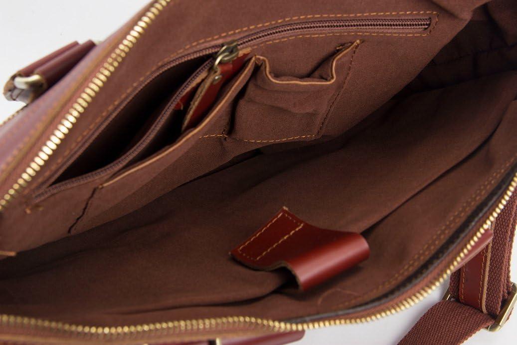 14 UNISEX GENUINE LEATHER BRIEFCASE MESSENGER BAG LAPTOP BAG 7001R