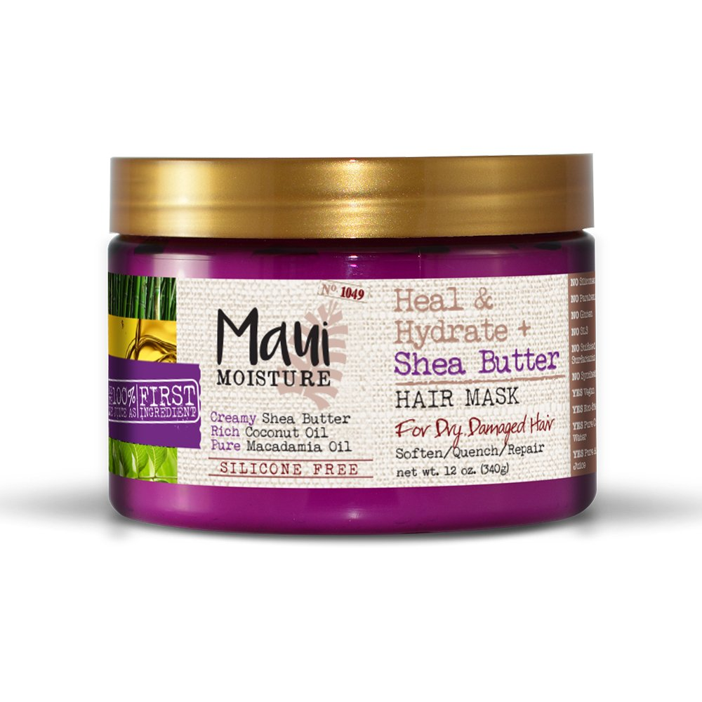 Maui Moisture Heal & Hydrate + Shea Butter Hair Mask & Leave-In Conditioner Treatment to Deeply Nourish Curls & Help Repair Split Ends, Vegan, Silicone, Paraben- & Sulfate-Free, Coconut 12.0 Ounce