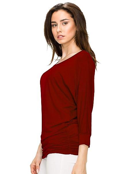Women's Crew/V Neck 3/4 Sleeve Drape Dolman Shirt Top with Side Shirring