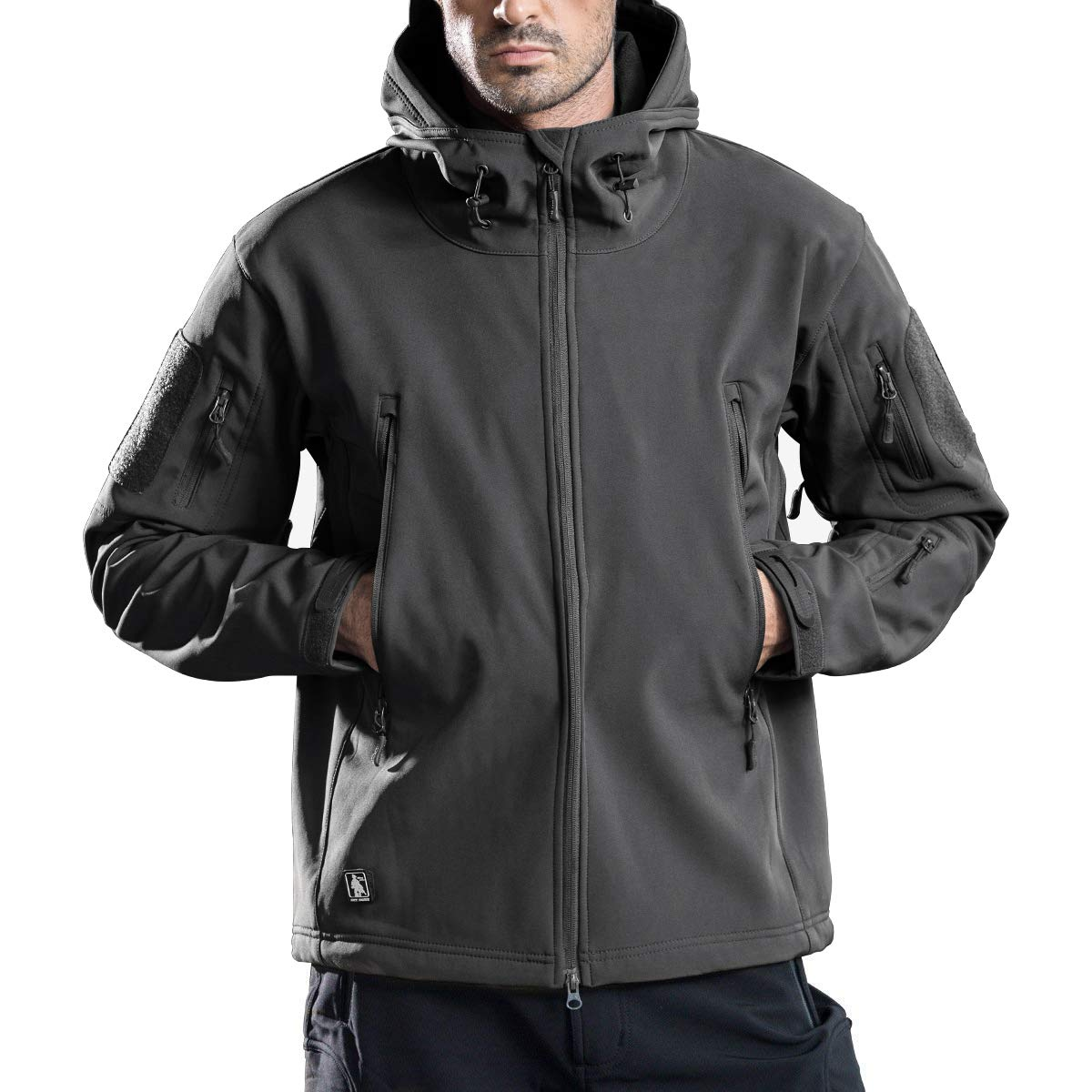 FREE SOLDIER Men's Outdoor Waterproof Soft Shell Hooded Military Tactical Jacket(Gray Small) by FREE SOLDIER