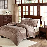 JLA Home INC Kramer Textured Plush Comforter Mini Set Taupe King/Cal King