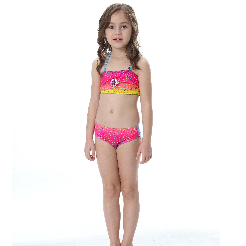 ShiyiUP 3pcs Traje de Ba/ño de Cuello H/álter con Cola de Sirena Bikini Set para Ni/ña
