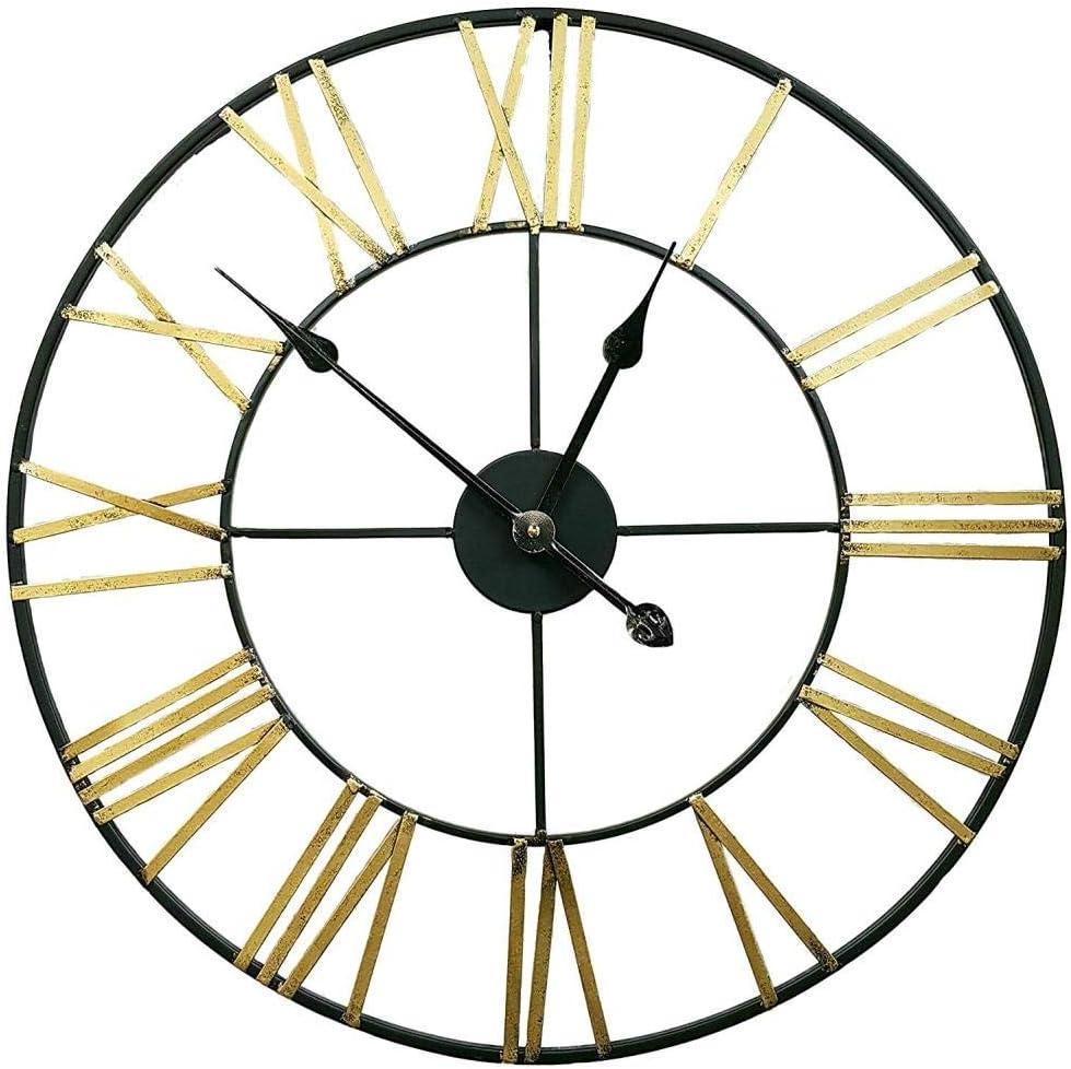 FDONTR Impresionante Esqueleto jardín Interior Pared Gran número Romano Cara Abierta Reloj de Metal Redondo Hierro @B