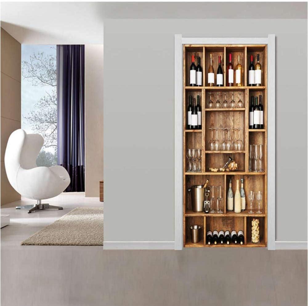 Turposter Selbstklebend 3d Moderner Luxus Weinschrank Turaufkleber Wandbild Foto Wandtattoo Turtapete Fur Drinnen Und Draussen 85x200cm Wohnaccessoires Deko Dekoartikel
