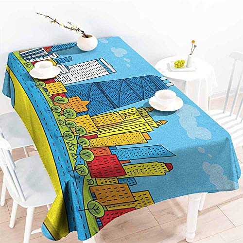 Willsd Fashions Rectangular Table Cloth,Chicago Skyline Cute Cartoon Style Childish City View with Colorful Buildings Caricature,Modern Minimalist,W54x72L Multicolor
