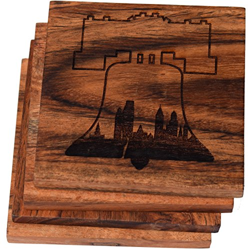 (Philadelphia Skyline within Liberty Bell Drink Coasters (Multiple Designs) - Engraved Acacia Wood Design - Set of Four ...)