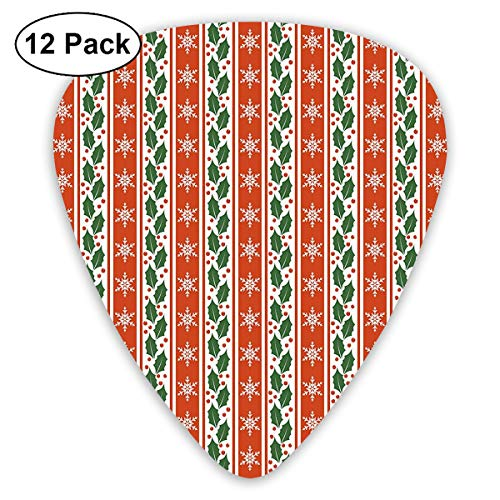 Guitar Picks - Abstract Art Colorful Designs,Holly Berry Leaves Snowflakes On Vertical Banners Christmas Year,Unique Guitar Gift,For Bass Electric & Acoustic Guitars-12 - Designs Holly Berry