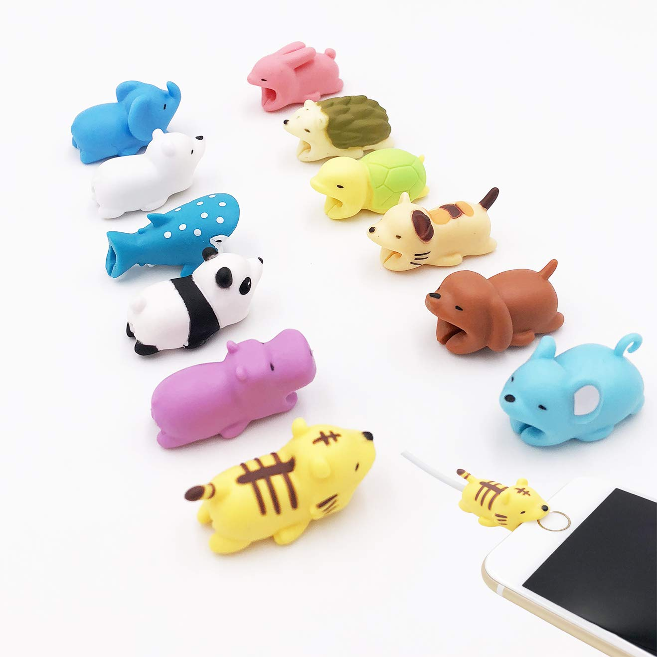 12-Pack LEHIAMZ Universal Cable Bite, Mini Cartoon Charging Cable Protector for iPhone USB Cable