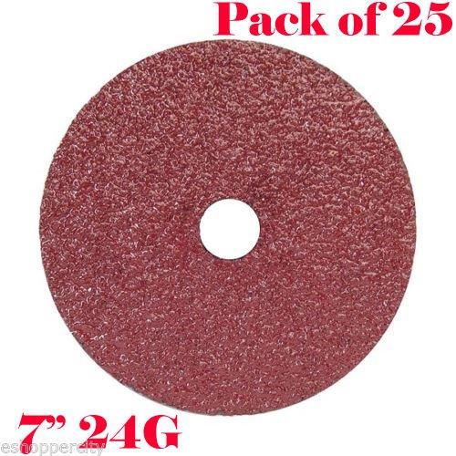 Pack of 25x 7'' Pro Resin Fiber Sanding Grinding Disc A/O 24 Grit Coarse 7/8'' Arbor AO