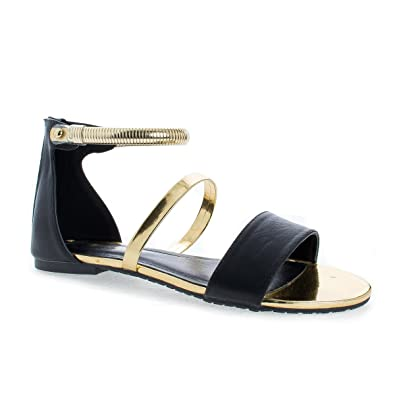 4c79cd71362d Suarez Black Gold Strappy Open Toe Snake Chain Ankle Cuff Flat Sandals-5.5