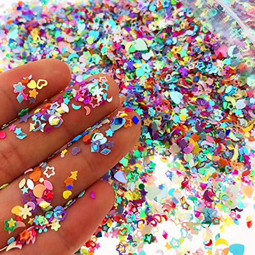 Wankko Multicolor Manicure Glitter Confetti 7.2oz/200g, Mixed Shapes Size 2-4mm For Party Decoration, DIY Crafts, Premium Nail Art Etc