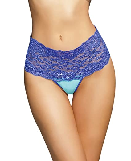 193e818ba Coquette 7031 Women s Highwaisted Microfiber Thong - One Size - Cobalt Aqua