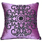 Lumbar Pillow Cailin, European Hot Stamping Vintage Pillow, Fabric Sofa Cushion Pillowcase, 4545cm (Color : Purple, Design : Without core)