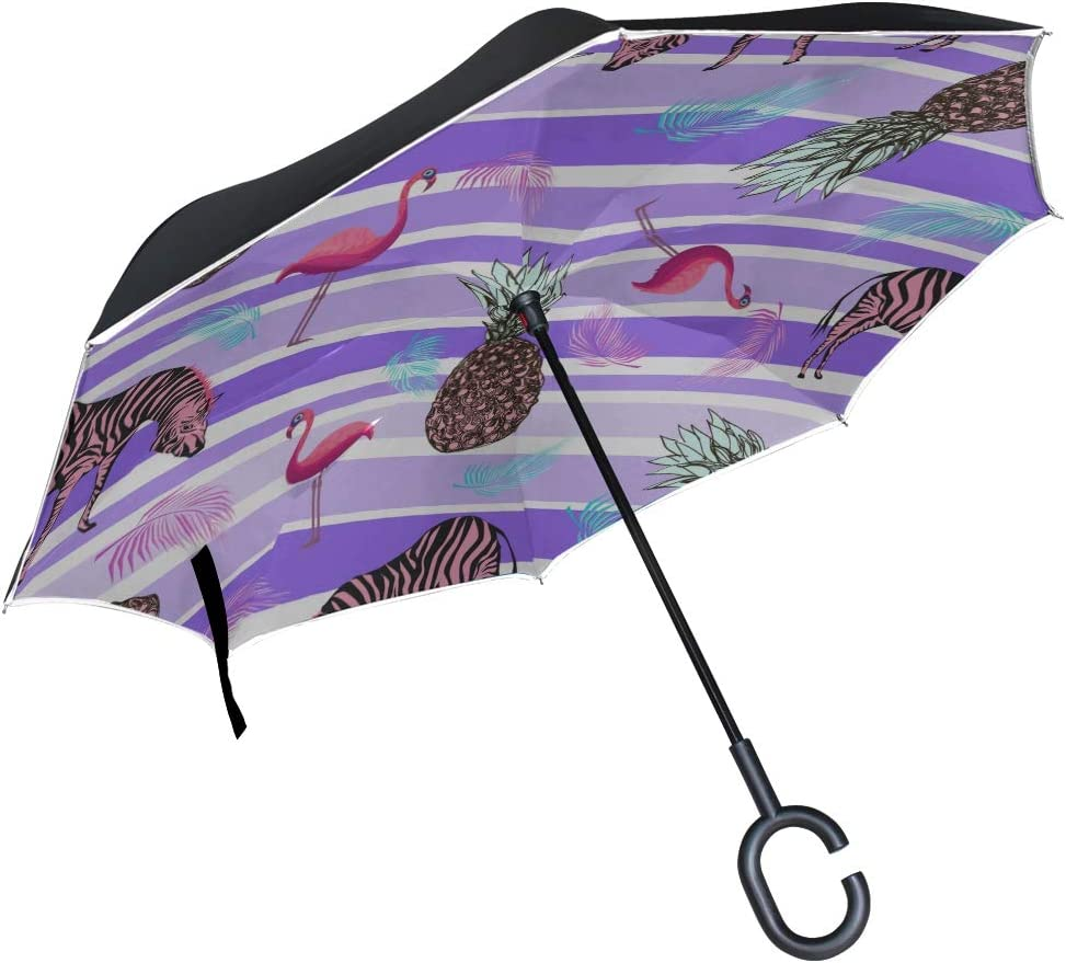 Double Layer Inverted Inverted Umbrella Is Light And Sturdy Pineapple Flamingo Pink Zebra Palm Leaves Reverse Umbrella And Windproof Umbrella Edge Ni
