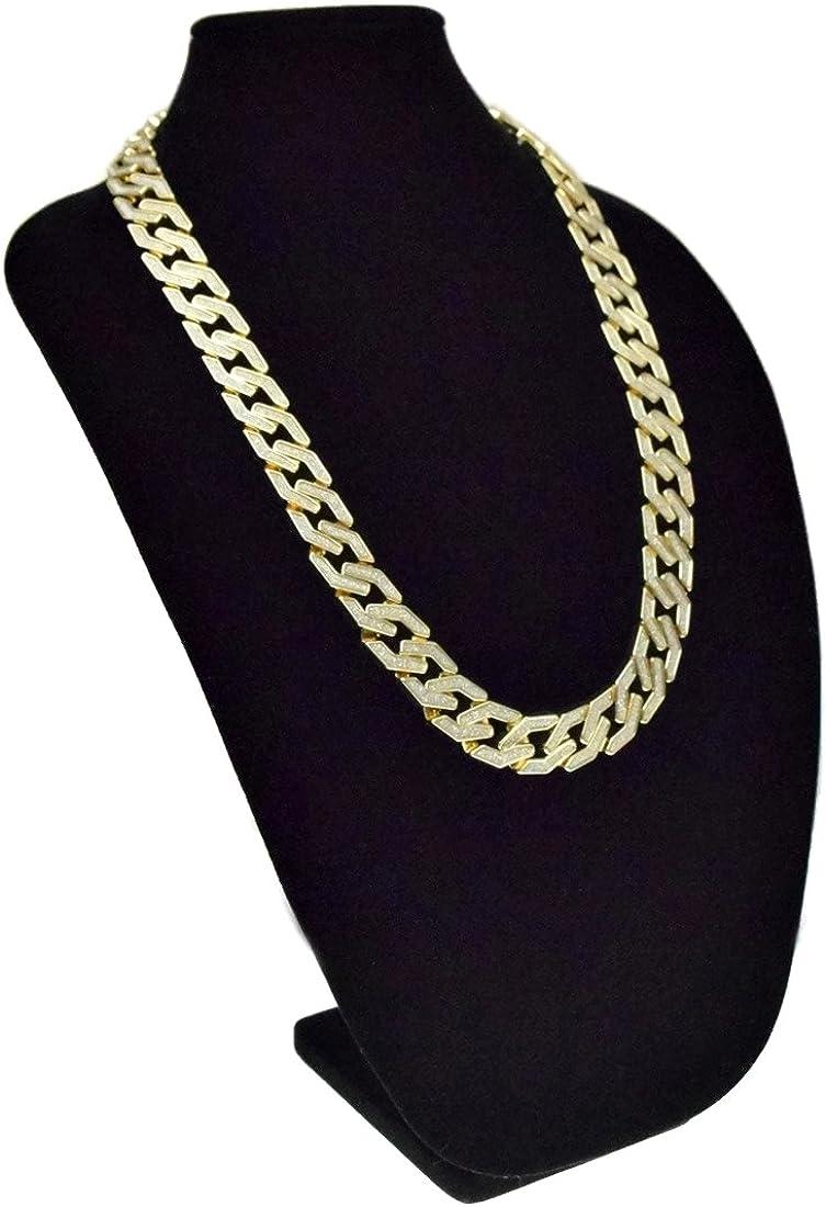 "Sand Blast Cuban Chain Gold Tone Sandblast 20MM Men 30/"" Chunky Hip Hop Necklace"