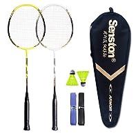 Senston Graphite Shaft Raquette de Badminton, Badminton Racket Set, comme Le Badminton Sac, Lot de 2
