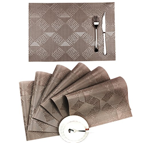 Placemats Set of 6,SHACOS Woven Vinyl PVC Placemats for Dining Table,Heat-Resistant Kitchen Table Mats (6, Silver Coffee)