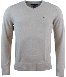 Tommy Hilfiger Mens Long Sleeve Pacific V-Neck Pullover Sweater - M - Beige 7a7e159519