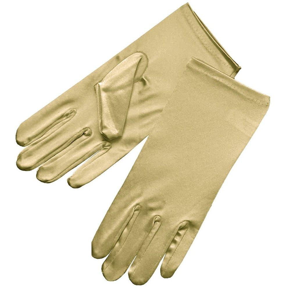 Poplife Women's Banquet Party Wedding Bridal Dance Elegant Short Finger Formal Party Wrist Length Gloves-Gold