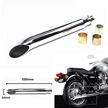 bd9b0346 Tubo de Escape Universal para Motocicleta Cafe Racer, Bobber Custom,  Triumph Custom etc, Corte de pestañas, Cromado: Amazon.es: Coche y moto