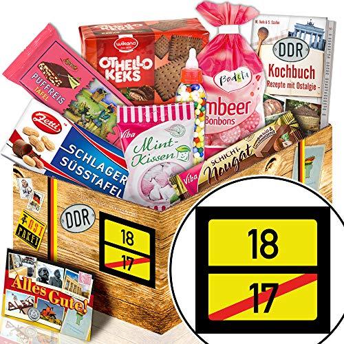 Ortsschild 18 + Süßigkeiten Box DDR + Geschenk zum 18. Geburtstag