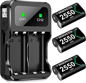 BEBONCOOL Xbox One Controller Battery Pack, Xbox One Rechargeable Battery Pack with Charging Station, 3x2550 mAh Battery Pack Rechargeable for Xbox One/Xbox One S/Xbox One X/Xbox One Elite Controller