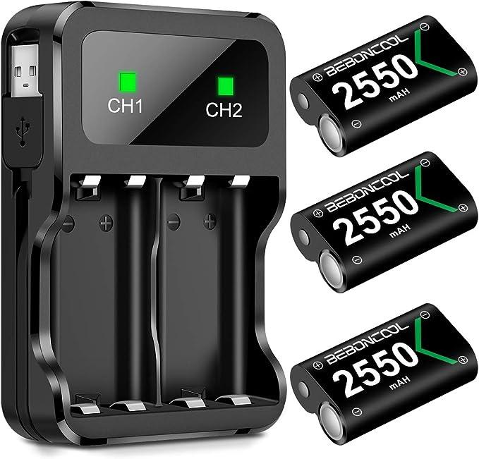Paquete de batería para Xbox One/Xbox Series X|S, batería recargable para Xbox Series X|S/Xbox One/Xbox One S/Xbox One X/Xbox One Elite Controller, cargador de batería con batería 3x2550: Amazon.es: Electrónica