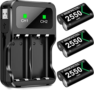 Controller Battery Pack for Xbox One/Xbox Series X S, Rechargeable Battery Pack for Xbox Series X S/Xbox One/Xbox One S/Xbox One X/Xbox One Elite Controller, Battery Charger with 3x2550 Battery Pack