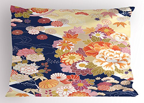 Ambesonne Japanese Pillow Sham, Traditional Kimono Motifs Composition Asian Ethnic Floral Patterns Vintage Artwork, Decorative Standard King Size Printed Pillowcase, 36 X 20 Inches, ()