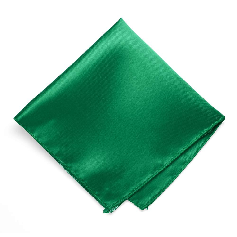 TieMart Kelly Green Solid Color Pocket Square RA09PP-0038