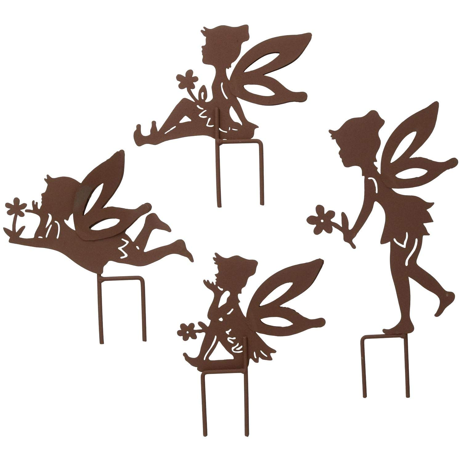 AB Tools Set of 4 Small Rustic Fairy Silhouettes With Stake Garden Deco Ornament