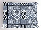 Lunarable Ethnic Pillow Sham, Antique Arabian Oriental Mosaic with Ornaments Eastern Geometric Tile, Decorative Standard Queen Size Printed Pillowcase, 30 X 20 inches, Dark Blue Baby Blue White