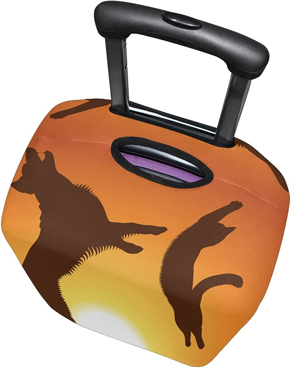 LAVOVO Cat And Dog Jumping The Sunset Luggage Cover Suitcase Protector Carry On Covers