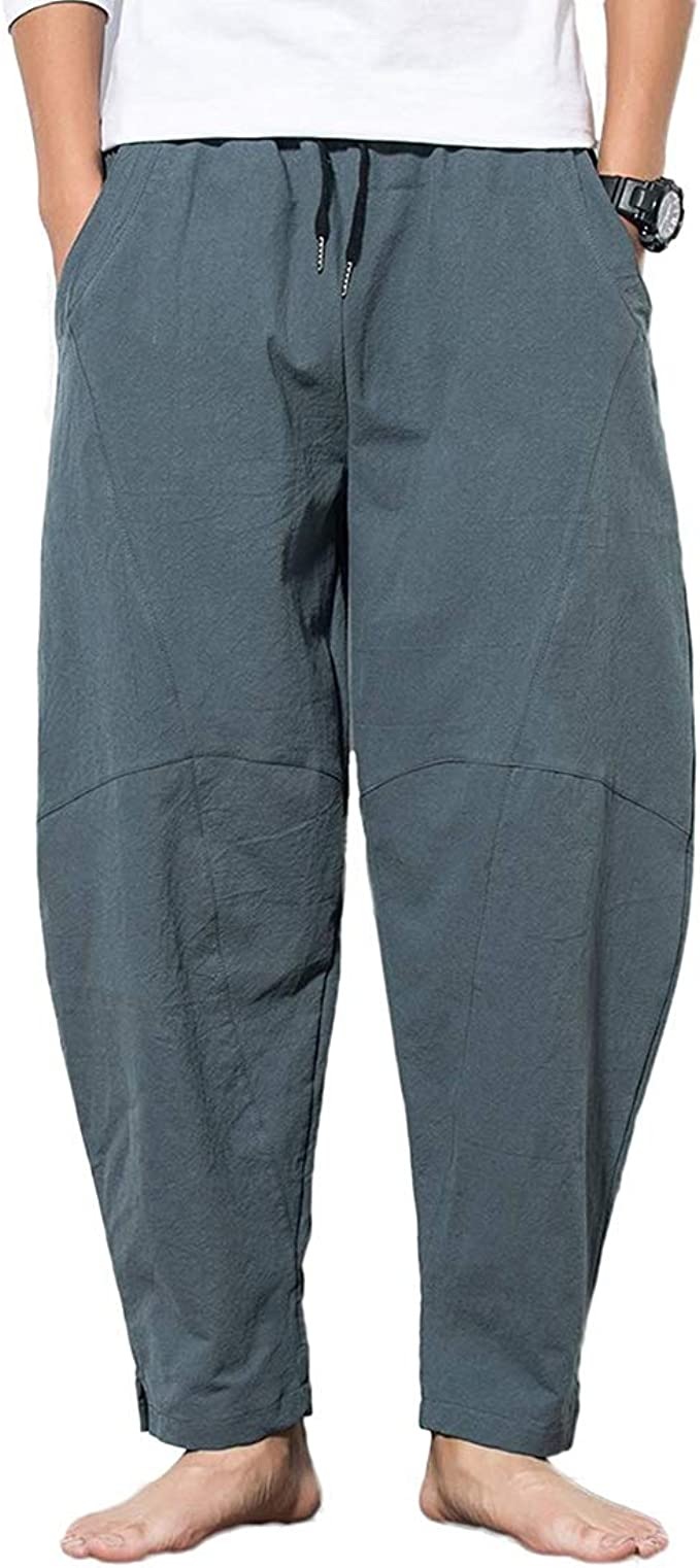 Hosen Hose Kordelzug Übergröße Atmungsaktiv Gerade Baumwolle Leinen Mode
