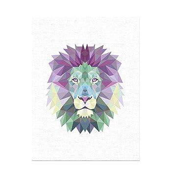 L Minran Decor Prints Lion De Couleur Geometrique Diy Peinture A L