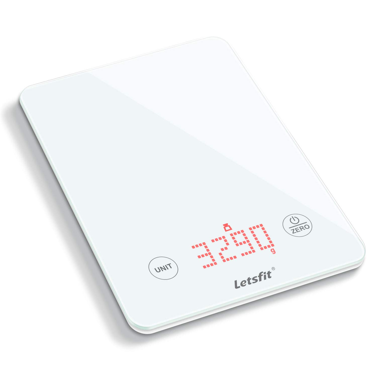 Letsfit Digital Kitchen Scale, Multifunction Food Scale and LED Screen Display, Glass Platform, Capacity Range from 0.1oz (1g) to 11lbs (5000g), Batteries Included by Letsfit