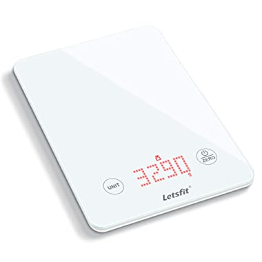 Letsfit Digital Kitchen Scale, Multifunction Food Scale and LED Screen Display, Glass Platform, Capacity Range from 0.1oz (1g) to 11lbs (5000g), Batteries Included