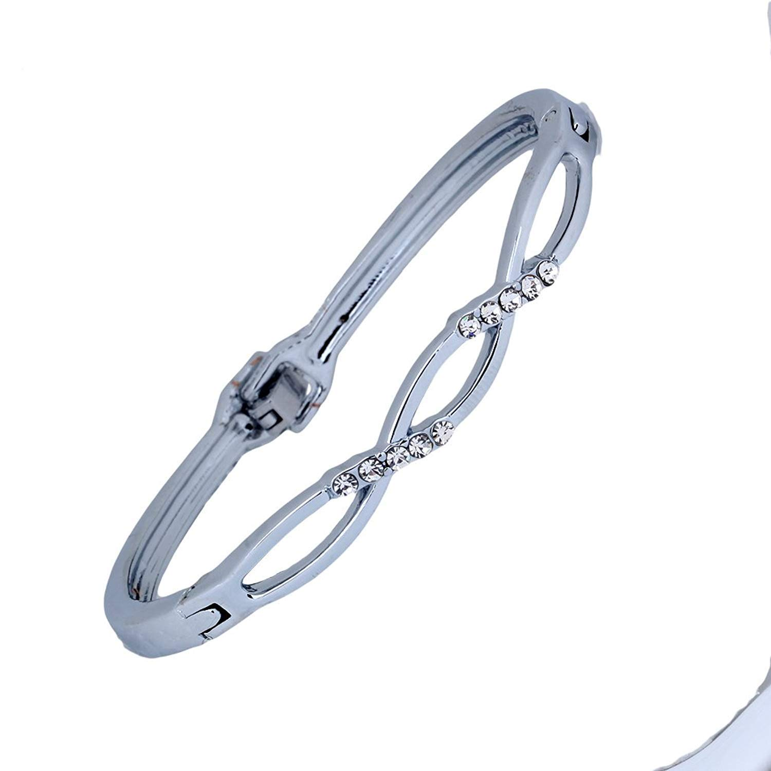 DVANIS Silver Plated Small Clear Crystal Bangle Bracelet 2.2'' Gift Women